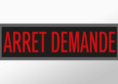 """MAN-Leuchtschild mit Text """"ARRET DEMANDE"""""""
