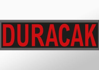 """MAN-Leuchtschild mit Text """"DURACAK"""""""