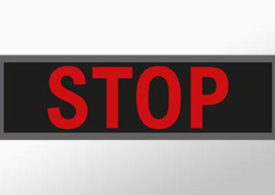"""MAN-Leuchtschild mit Text""""STOP"""""""