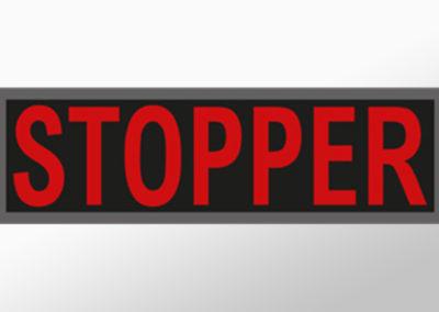 """MAN-Leuchtschild mit Text""""STOPPER"""""""