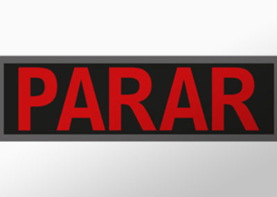 """MAN-Leuchtschild mit Text """"PARAR"""""""