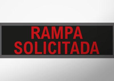 """MAN-Leuchtschild mit Text """"RAMPA SOLICITADA"""""""